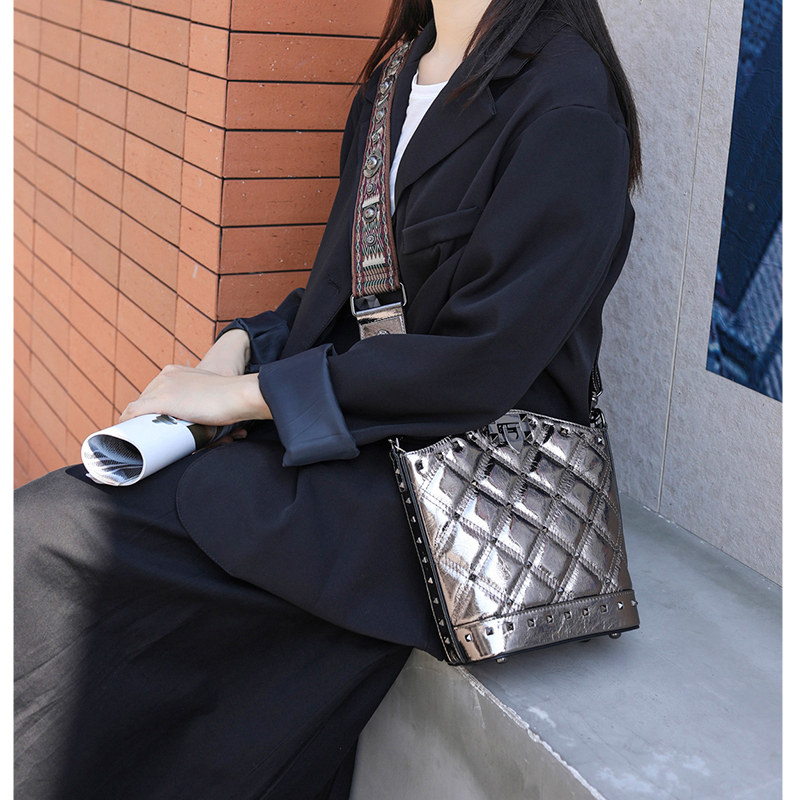 SHUCAI Vrouwen Echt Lederen Emmer Tas Mode Solid Schoudertassen voor Dames Grote Crossbody Tassen 2019 2 Schouderriem - 3