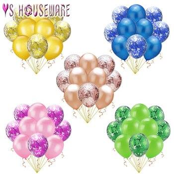 10pcs12pulgadas globos de confeti mixto decoración de fiesta de cumpleaños niños adultos bola metálica bebé ducha chica globos de aire