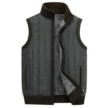 NIANJEEP Winter Vests Men Stand Collar Warm Fleece Sleeveless Jacket Men Waistcoat Vests Zipper Parka Plus Size XXL XXXL