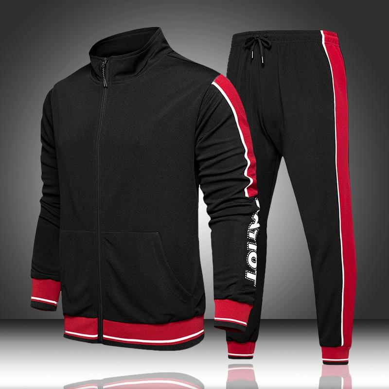 Stand Collar Track Suit Set Men Autumn Spring Sportwear 2020 TrackSuit Male Zipper Large Size Coat Pants Fitness Sets Sweatsuit