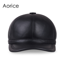 HL097  genuine leather men cap hat brand new baseball cap fashion men's real leather hats/caps with 3 colors