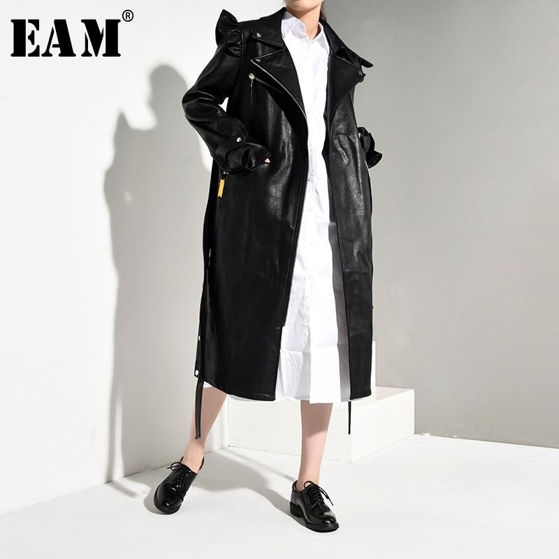 [EAM] Women Black Pu Leather Ruffles Trench New Lapel Long Sleeve Loose Fit Windbreaker Fashion Tide Spring Autumn 2020 JK4100