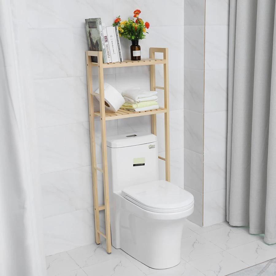 2 tier wooden bathroom storage shelf towel storage rack over toilet compact towel paper holder bathroom organizer shelves hot