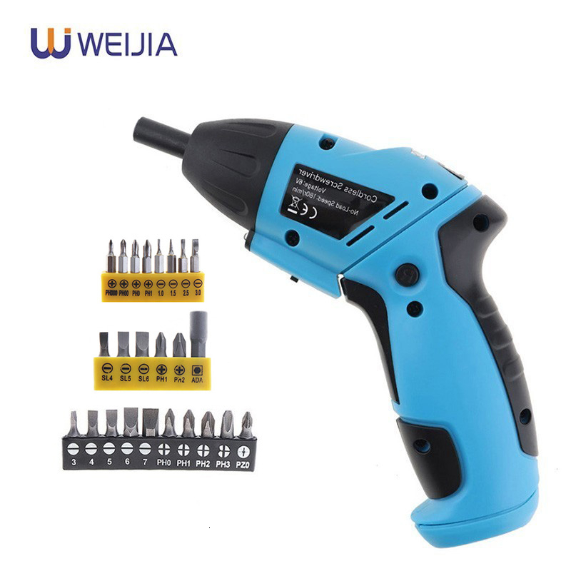 6V Battery Electric Screwdriver Mini Cordless Drill Wireless Power With LED Light Multi-function DIY Power Tools 10 Bits