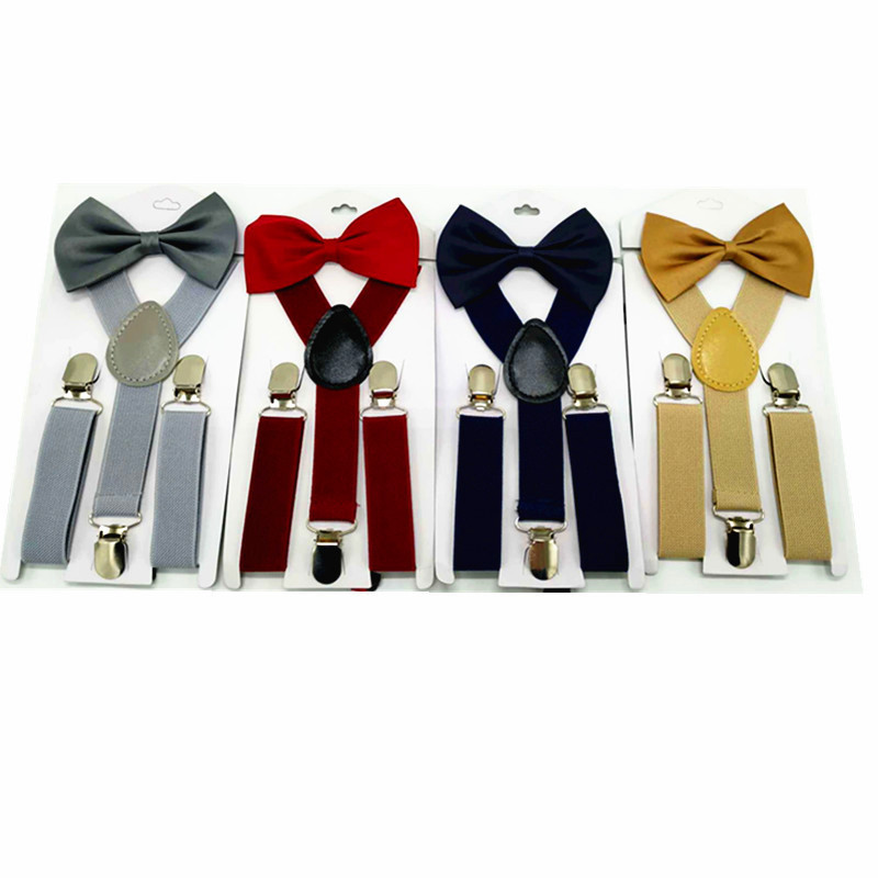 2019 Hot Soild Color Children Belt Bowtie Set Baby Boys Girls Suspenders Clip-on Y-Back Braces Bow Tie Elastic Kids Adjustable
