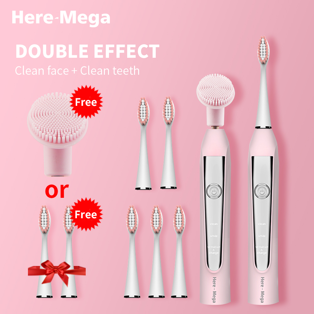 HERE-MEGA Sonic Electric Toothbrush USB Rechargeable Replaceable Cleansing Brush Head Upgraded Ultrasonic Whitening Teeth Adult image