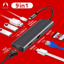 "Snowkids סוג C רכזת עגינה 9in1 USB C פ""ד LAN RJ45 HDMI SD TF USB3.0 VGA עבור MacBook HP Dell huawei Mi סמסונג Asus ZenBook"