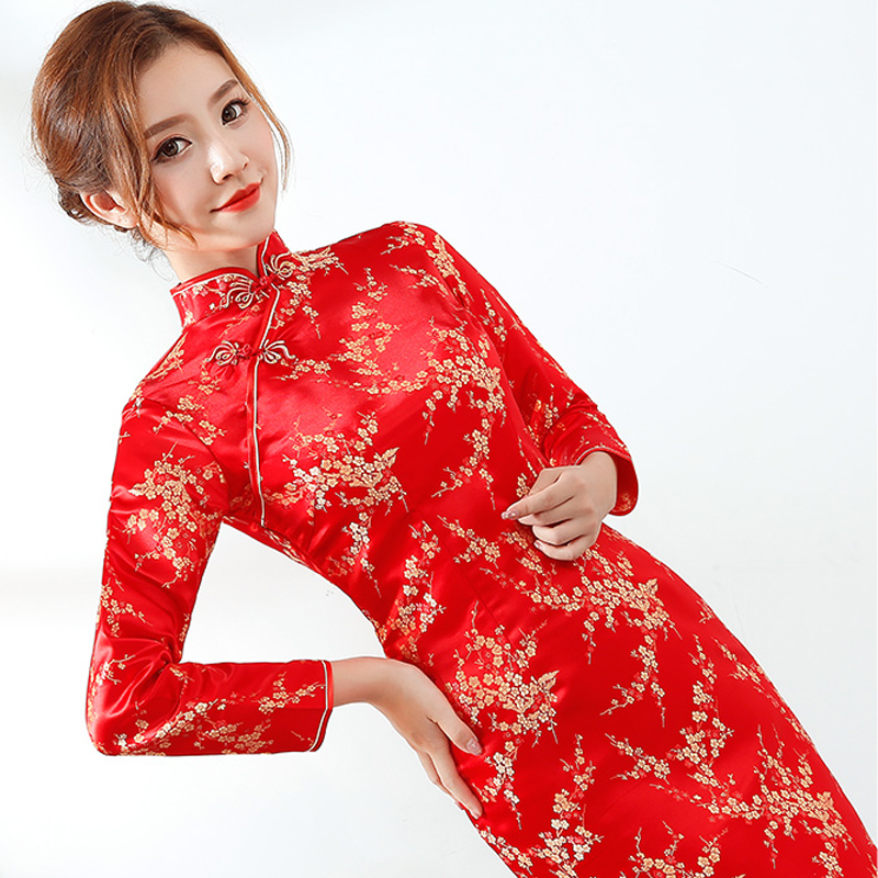 Red Chinese Bride Wedding Dress Sexy Women Satin Long Sleeve EVening Party Qipao Cheongsam Floral Formal Social Vestidos