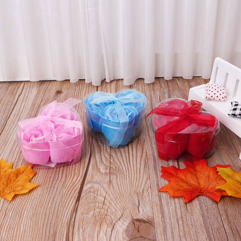 3Pcs/Set Rose Petal Flower Scented Bath Soap + Heart Shape Box For Wedding Gift Q0KD