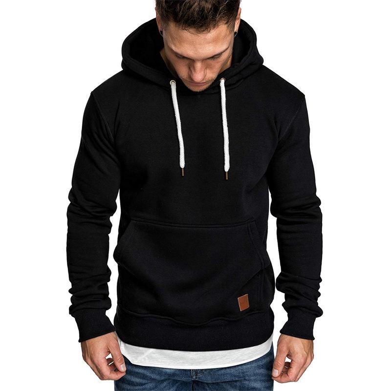 Autumn Winter Men Hoodies Hip-hop Street Loose Warm Pullovers Long Sleeve Pocket Solid Color Casual Male Hooded Sweatshirts 5XL