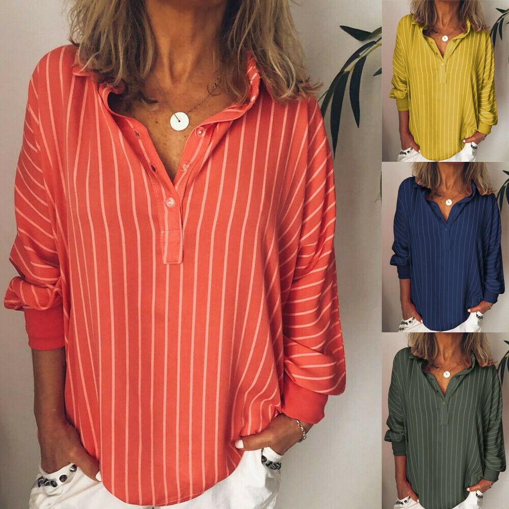 Autumn Large Size Women's Casual Striped V Neck Blouse Loose Baggy Tops Tunic T Shirts Plus Size Stripe Blouses Tops Costume