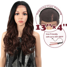"MAGIC Hair Synthetic 13X4""Lace Front Wig For Black Women 24""Inch Loose Wavy Brown Ombre Wigs Osplay Afro Long Hair(China)"