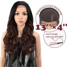 """Magiczne włosy syntetyczne 13X4 """"koronkowa peruka na przód dla czarnych kobiet 24"""" Cal luźne faliste brązowe peruki Ombre Osplay Afro długie włosy"""