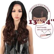 Peluca con malla frontal para mujeres negras de 13x4 pulgadas, pelo mágico sintético, pelucas de color marrón ondulado y holgado de 24 pulgadas, cabello largo Afro oplay