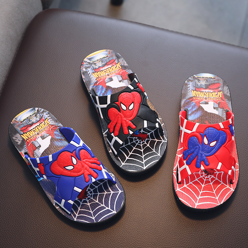 New Kids Slippers For Boys Cartoon Spiderman Flip Flop Baby Girls Home Slippers Summer Beach Sandals Children Indoor Non-slip