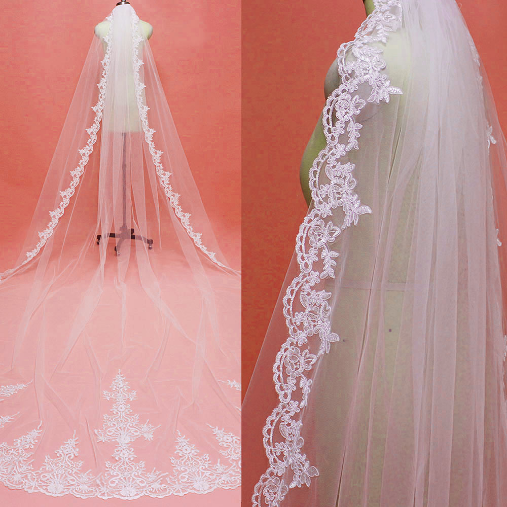 High Quality Neat Lace 4 Meters Long Wedding Veil With Comb Custom Made 400cm White Ivory Bridal Veil Wedding Accessories
