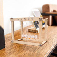 Newton Cradle Bureau Tafel Decor Houten Slinger Bal Newton Ball Natuurkunde Science Pendulum Steel Balance Ball Kinderen Speelgoed(China)
