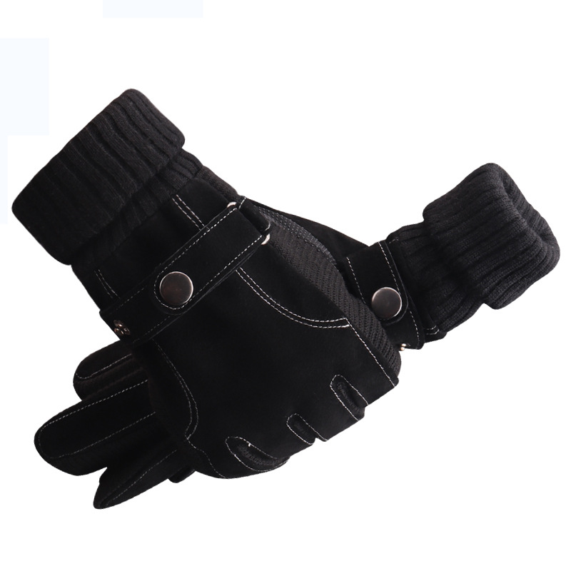 Men's Genuine Leather Gloves Winter Autumn Cycling Fluff Warm Gloves For Touchscreen Anti Slip Pigskin Soft Warm Gloves Mittens