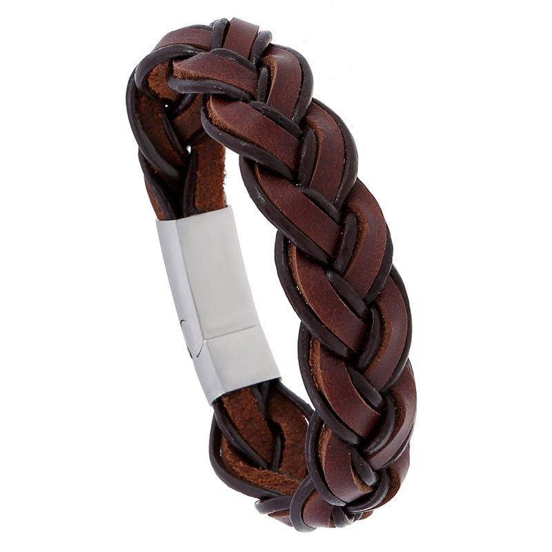 2019 New Design Handmade Braided Genuine Leather Bracelet & Bangle for Men Stainless Steel Fashion Bangles Gifts