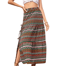 Midi Skirt Adults Floral-Print Female High-Waist Green Summer with Strap for Fall L/XL