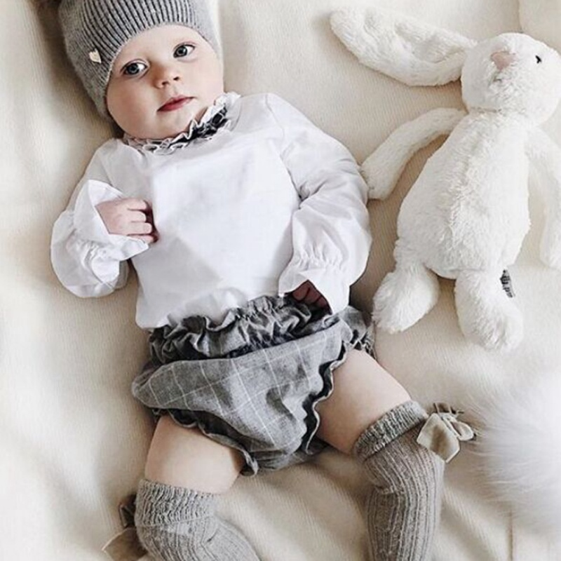 2Pcs Newborn Infant Baby Sets Kid Boy Girl Long Sleeve Spring Elegant Clothes T-shirt Plaid Short Pants Set