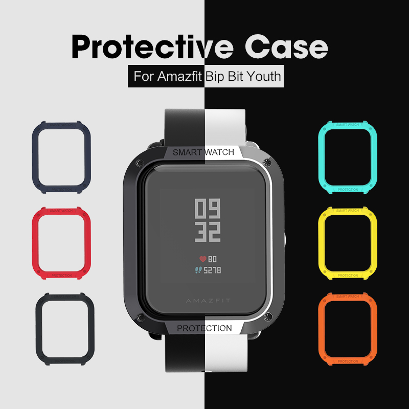 SIKAI PU Watch Case For Xiaomi Bip BIT PACE Lite Youth Watch Cover Military Protective Shell For Huami Amazfit Bit Watch Cover