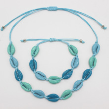 Best Selling Ocean Wind Color Shell Necklace Bracelet Set Alloy Jewelry Gifts