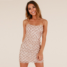 Sexy Sequined Spaghetti Strap Glitter Party Dress Plaid Office Open Back Mini Night Club Bodycon Summer Women Dress Clothing tribal print open back mini bodycon dress