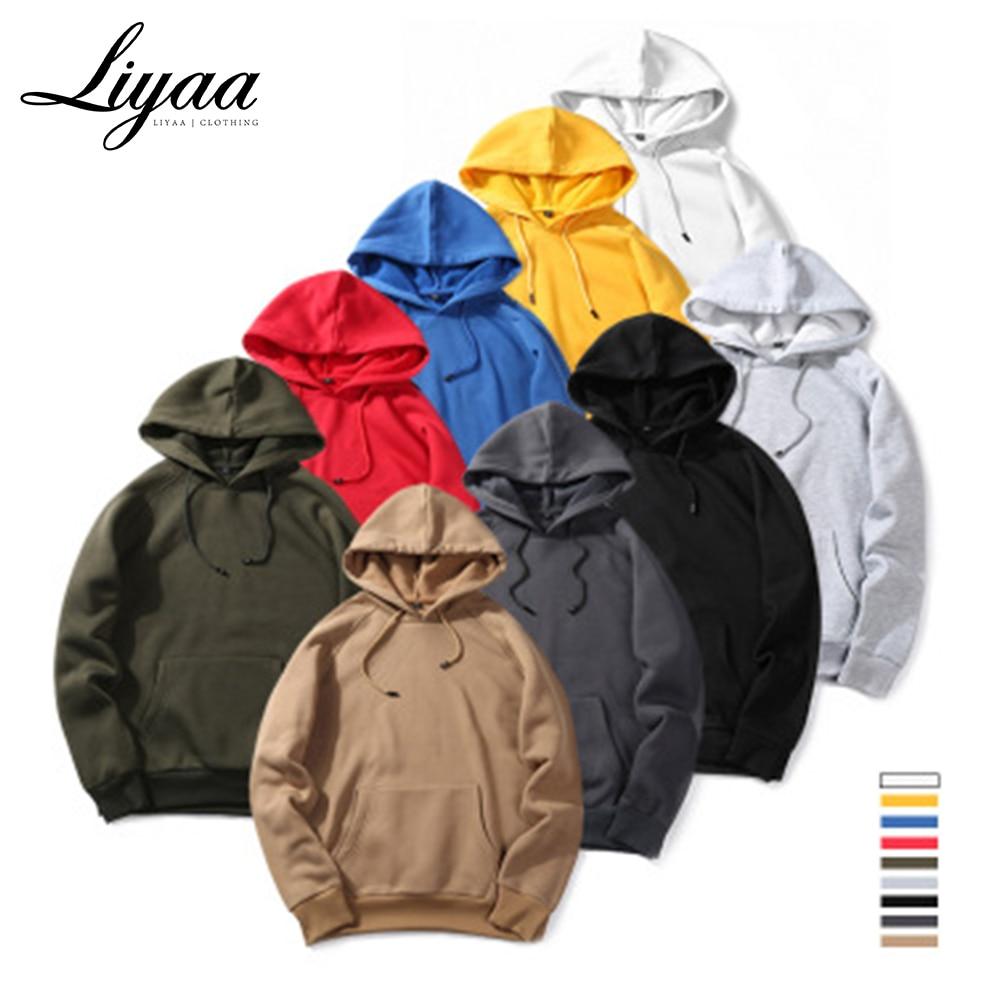Liyaa Fashion Brand Hoodies Men 2020 Autumn Male Casual Solid Color Hoodies Sweatshirt Male Hip Hop Streetwear Hoodie Top Mens
