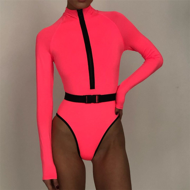 Long Sleeve Surfing Women Solid One Piece Swimsuit