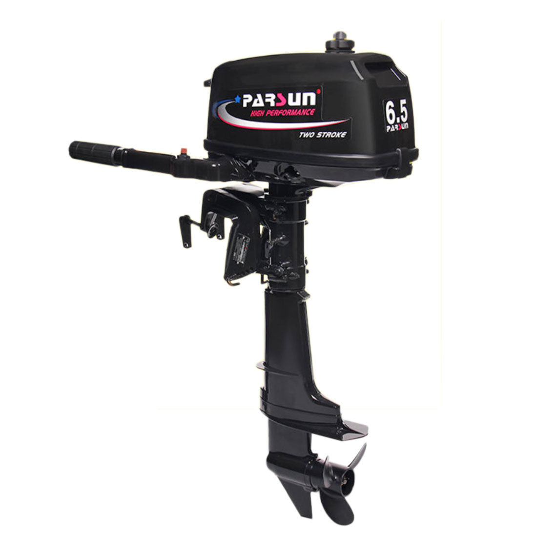 2-Stroke 6.5Hp 102cc Water-Cooled Manual Short Axis Gas Marine Outboard Thruster For 2.7-4m Mini Boat