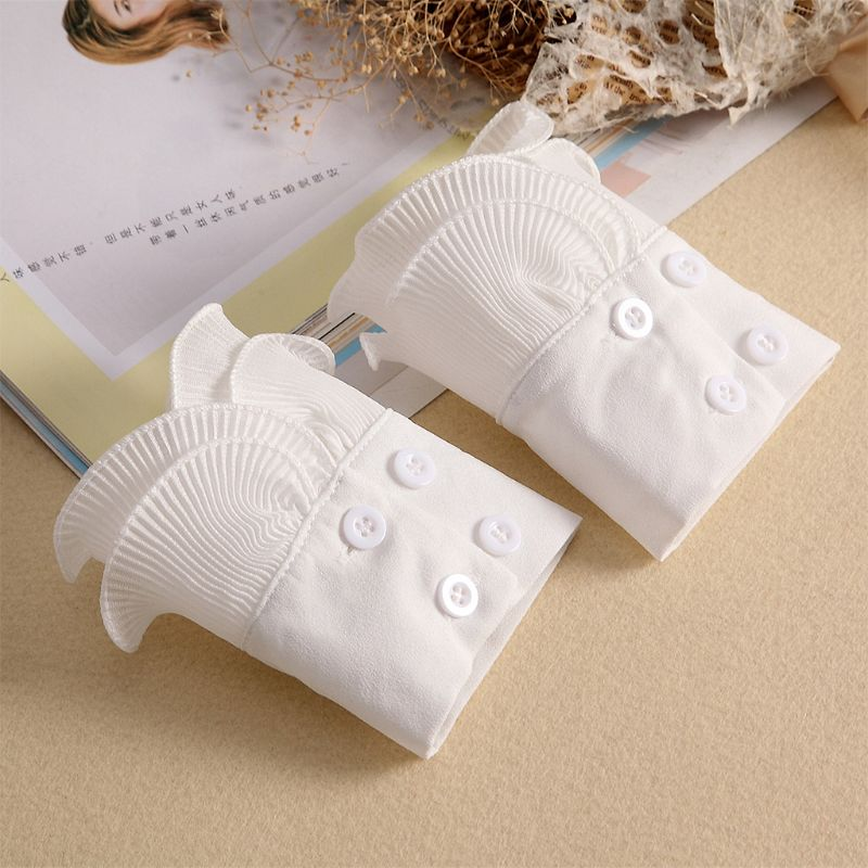 Detachable Shirt Pleated Flare Sleeve False Cuffs Solid Color Pleated Layered Decorative Women Clothing Accessory 449F