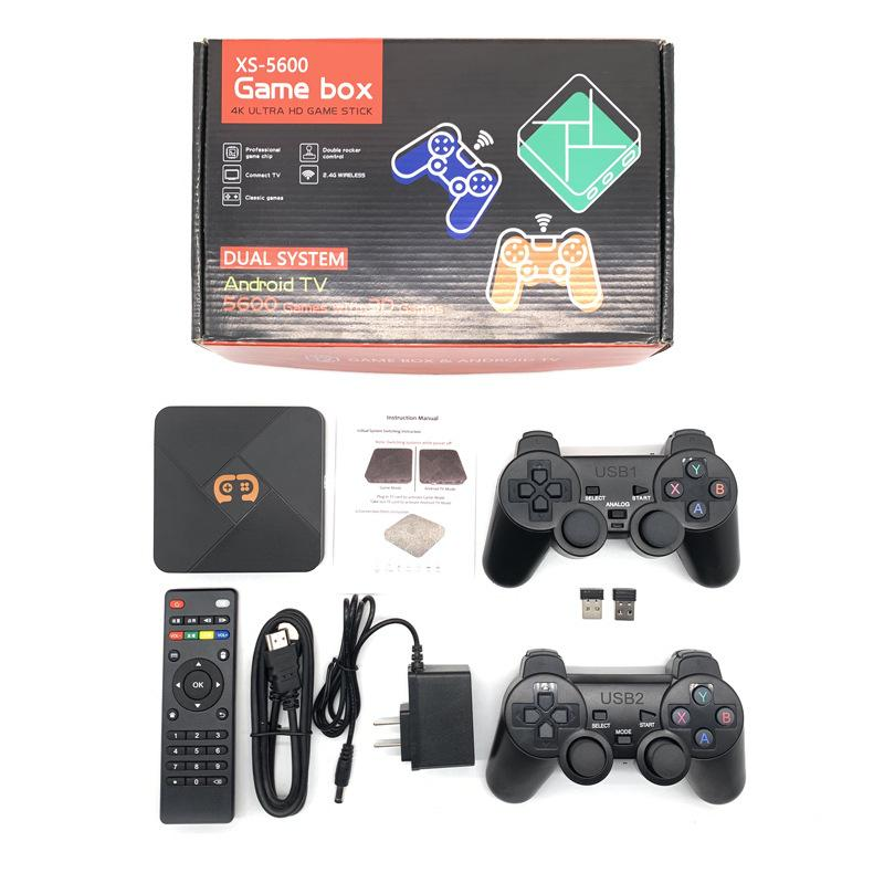 XS-5600 Video Game Console With Wireless Controllers TV Retro Game Console Built-in 50 Emulators 5600+ Games For PS1/N64/DC