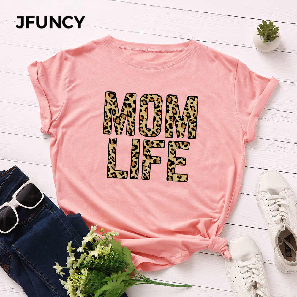 Jfuncy Plus Size 100% Katoen Zomer Tshirt Luipaard Mom Leven Gedrukt Vrouwen T-shirt Korte Mouwen Vrouw Tee Tops Vrouwelijke T shirt
