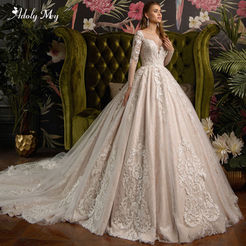 Adoly Mey Gorgeous Appliques Court Train Lace Ball Gown Wedding Dresses 2020 Charming Scoop Neck Long Sleeve Vintage Bride Gown