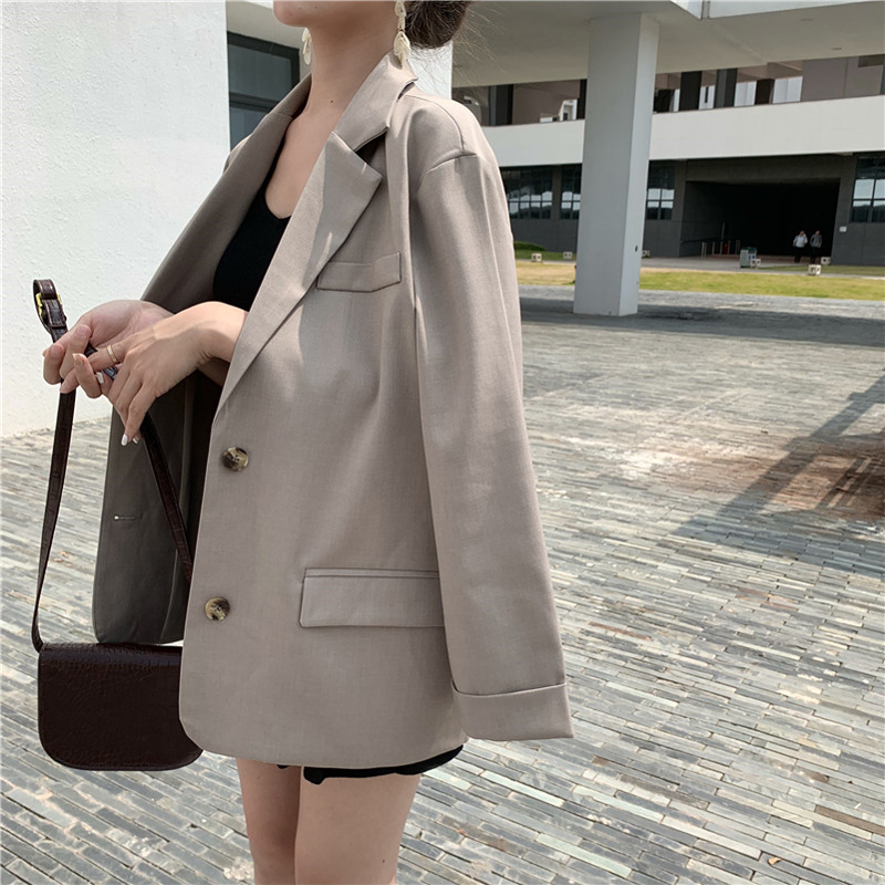 Drop Shipping Double Breasted Black Blazer For Women Notched Collar Pockets Basic Jacket Female Loose OL Style Outwear Blaser