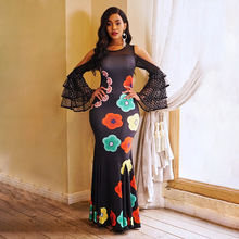 Sisjuly Summer Party Elegant Black Women Long Dresses Sun Flower Off Shoulder Mesh Floral Print Evening Ruffle Sleeve Maxi Dress цена и фото