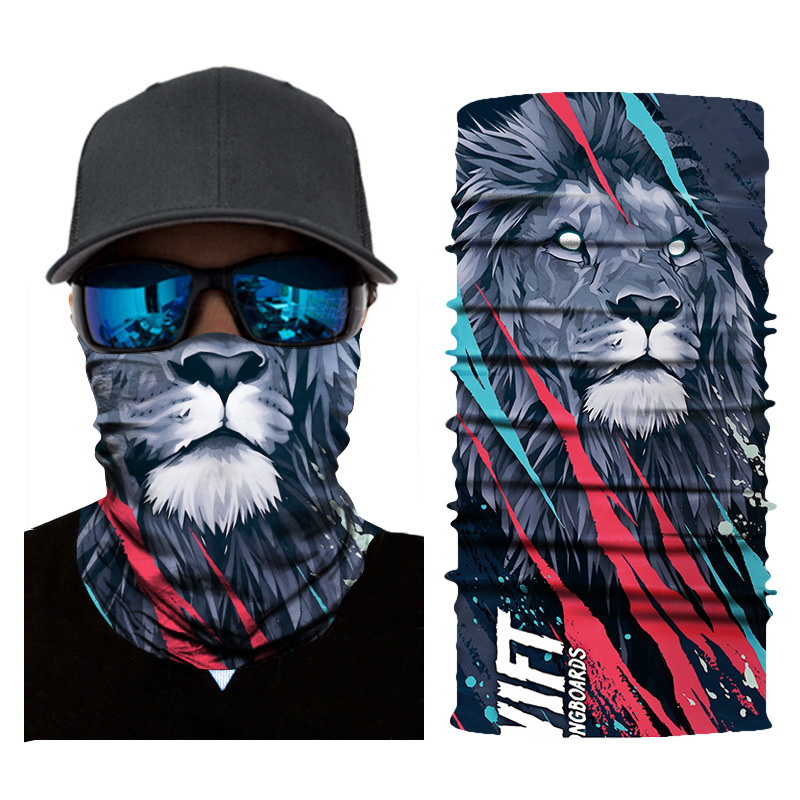 1pc Face Mask 3D Lion Monkey Animal Print Balaclava Head Cover Cycling Face Mask Head Hair Band Hood Scarf Pirate Hat Wristbands