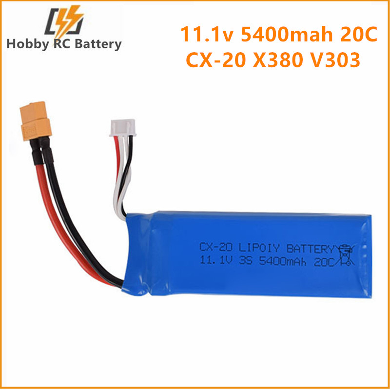 11.1v 5400mah 20c Lipo Battery XT60 Plug CX-20 X380 V303 V393 2.4G RC racing boat aircraft High power lithium polymer battery(China)