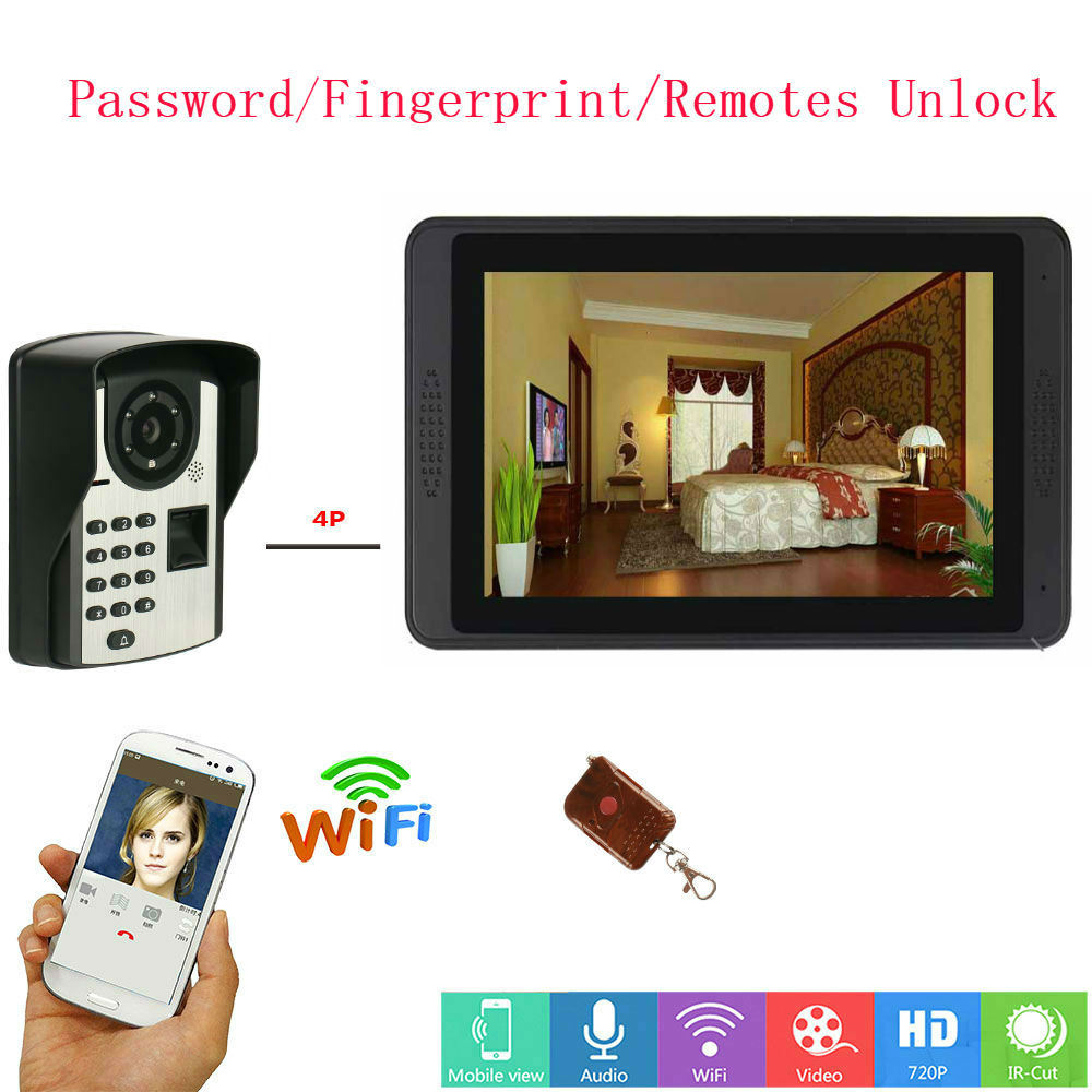 7inch Monitor Fingerprint Wired WIFI Video Door Phone Doorbell Intercom Entry System Support Night Vision Phone APP Remote Inter