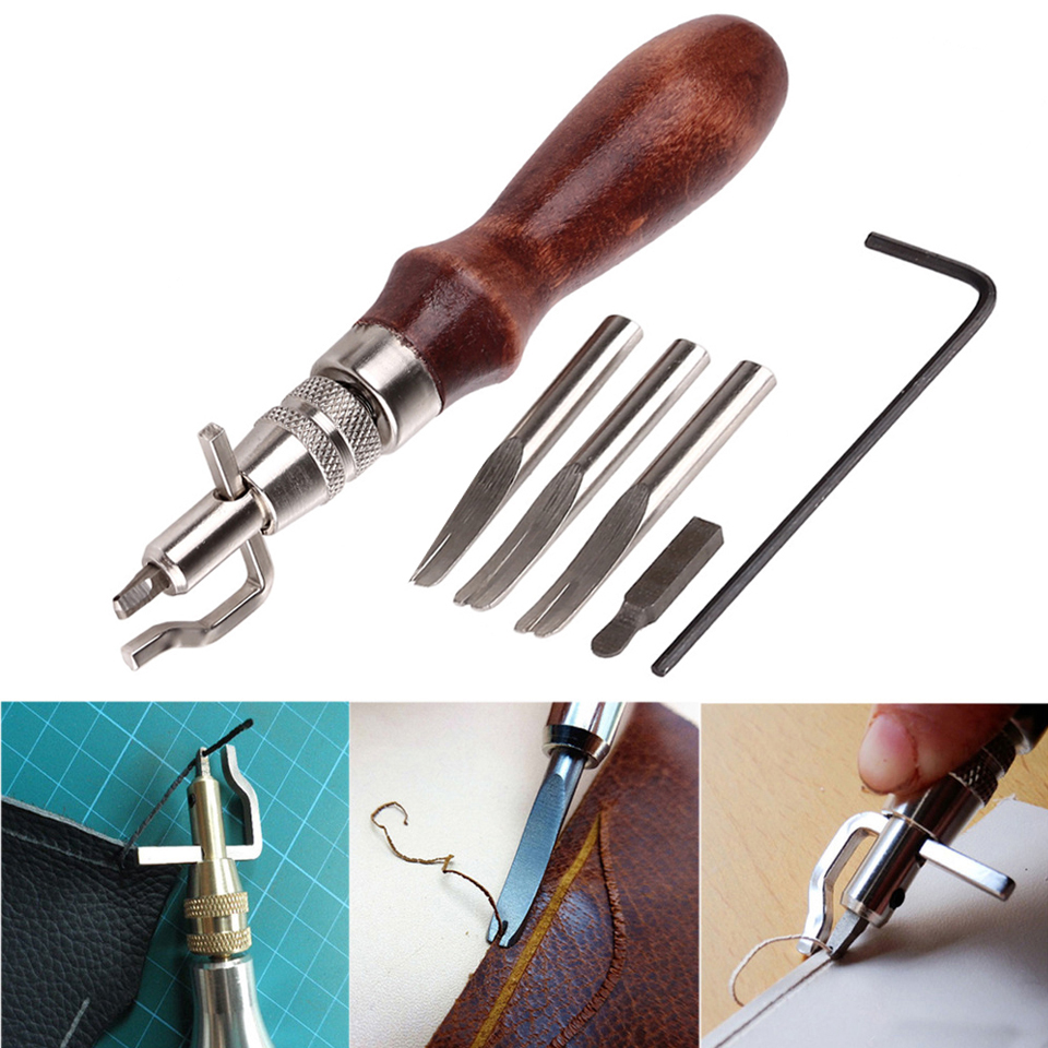 5 In 1 DIY Leathercraft Adjustable Pro Stitching Groover Crease Leather Tools Edge Skiving Beveling Knife Sewing Cutting Tools