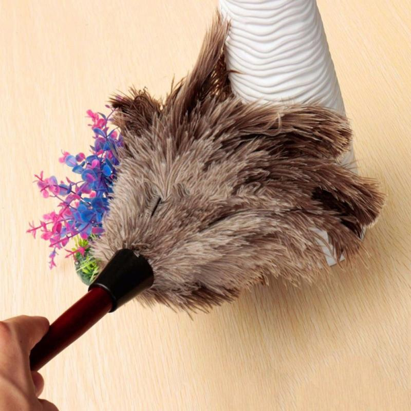 New Grey Anti-static Ostrich Feather Duster Wooden Handle Home Furniturer Car Dust Cleaner Brush For Cleaning Tool TSLM1(China)