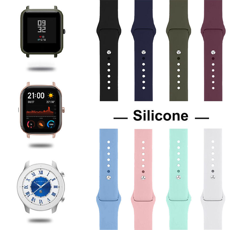 Silicone Band For Xiaomi Amazfit Bip Pace GTS GTR Stratos Strap Universal Bracelet Band Wrist Sport Silicone Watch Strap Smart