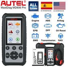 Autel أداة تشخيص السيارات MD806 Pro ، قارئ رمز ، ماسح ضوئي كامل للنظام ، EPB/إعادة ضبط الزيت ، BMS DPF VS MD805 MD802
