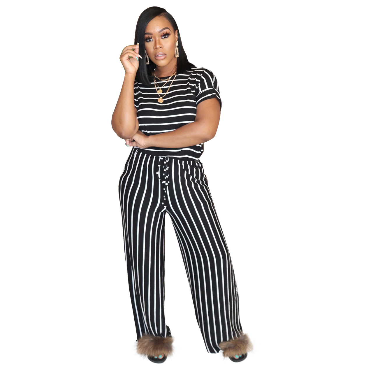 Ha4c2e6e88d42400db82231e1adad0b18n - Fashion Women Stripes Jumpsuits Summer New Arrival Short Sleeves Crew Neck Women Casual Rompers Loose Daily Wear Outfits