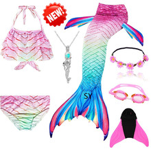 Mermaid Tail Costume! Girls Mermaid Tails with Fin Swimsuit Bikini Bathing Suit Dress for Girls With Flipper Monofin For Swim