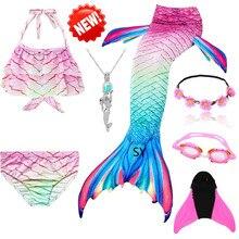Traje de cauda de sereia! Caudas de sereia para meninas, com barbatana, maiô, vestido de banho para meninas com monofin de pato para nadar