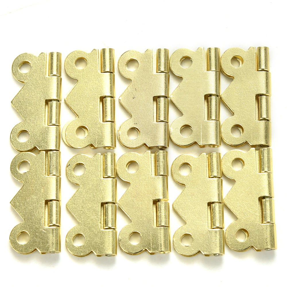 10Pcs Stainless Steel Spring Loaded Butt Hinges 4 Holes Cabinet Drawer Jewellery Box Decorative Hinge Furniture Hardware