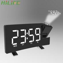 LED Clock Timer Projector Fm-Radio Digital Backlight HILIFE Snooze Rotating USB