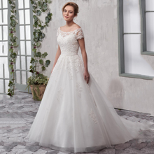 Off The Shoulder Boat Neck Short Sleeve A Line Applique Lace Wedding Dress 2019 Plus size Custom Made Embroidery dress